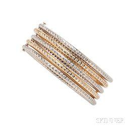 Set of Five 18kt Gold and Diamond Bracelets, Donald Huber