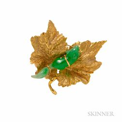 14kt Gold and Jade Brooch