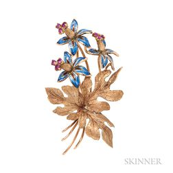 18kt Gold and Enamel Flower Brooch