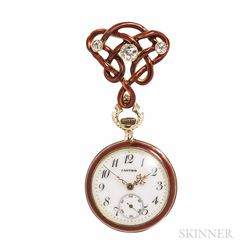 Lady's 14kt Gold, Enamel, and Diamond Open-face Pendant Watch