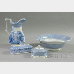 Four Blue and White Ironstone Toilet Items