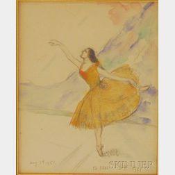 Louis Kronberg (American, 1872-1965)      Ballerina in Orange.