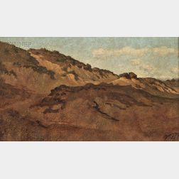 Elihu Vedder (American, 1836-1923)      Hillside between Perugia & Gubbio