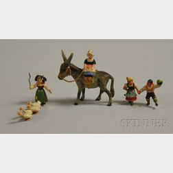 Austrian Miniature Cold-painted Bronze Becassine-type Maiden Riding a Mule, a Dancing Peasant Couple Figural Group, and a Peasant ...