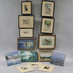 Fourteen Assorted Framed and Unframed Works