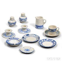 Eleven Dedham Pottery Tableware Items