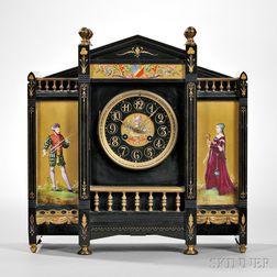 Belgian Black Slate and Porcelain Panel Petite Sonnerie Mantel Clock