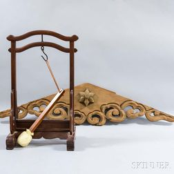Chinese Hardwood Gong Stand and a Japanese Architectural Element