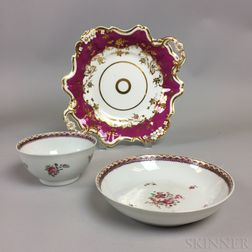 Chinese Export Porcelain Teacup and Saucer and a French Porcelain Dish.     Estimate $20-200