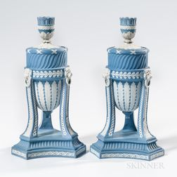 Pair of Wedgwood Solid Blue Jasper Cassolettes