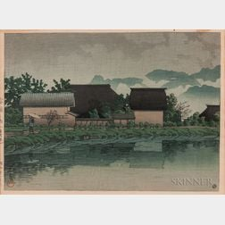 Kawase Hasui (1883-1957), Rain at Yasuniwa, Nagano