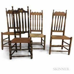 Four Bannister-back Side Chairs.     Estimate $300-500