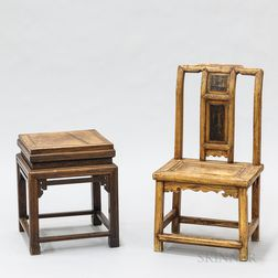 Chinese Carved Hardwood Side Table and Child's Chair