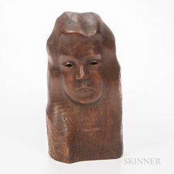 Chaim Gross (American, 1902-1991) Carved Wood Female Head