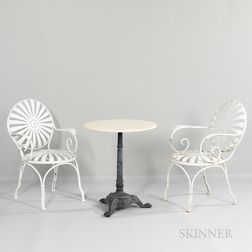 Pair of Francois Carre Sunburst Armchairs and a Marble-top Table
