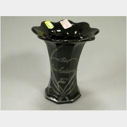 Silver Resist Decorated Black Art Glass Vase
