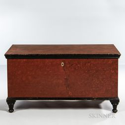 Red- and Black-painted Blanket Chest