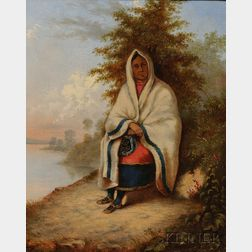 School of Cornelius David Krieghoff (Canadian, 1815-1872)      Portrait of a Seated Woman, Possibly a Caughnawaga, Quebec, Native