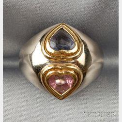 18kt Bicolor Gold, and Gem-set Ring