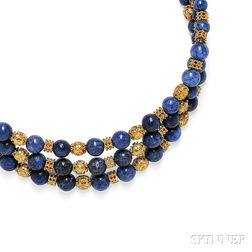 18kt Gold and Sodalite Bead Collar
