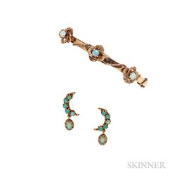 14kt Gold and Opal Earclips and Bracelet
