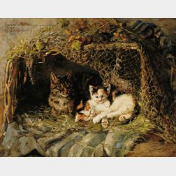 Clemence Nielssen (German, 1850-1911)      Un Coin de Bonheur  /A Portrait of a Mother Tabby Cat and Calico Kittens