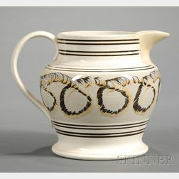 Mochaware Pitcher with Looping Earthworm Decoration
