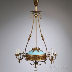 Victorian Brass Six-light Gas Chandelier with Blue Opaline Glass Dome Shade