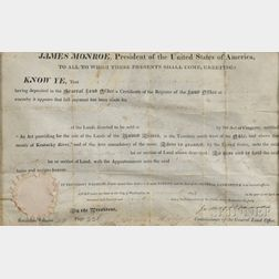 Monroe, James (1758-1831) Land Deed, Signed, 14 July 1819.