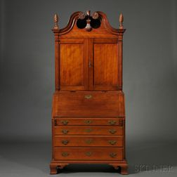 Carved Cherry Desk and Bookcase
