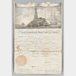 Jefferson, Thomas (1743-1826) and James Madison (1751-1836) Signed Ship's Passport, 10 November 1802.