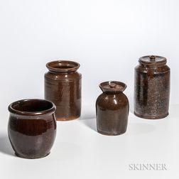 Four Glazed Redware Jars