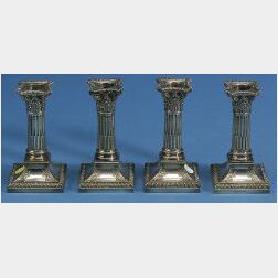 Set of Four English Electroplated Candlesticks