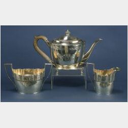 Assembled George III Four Piece Tea Service with Later Plated Tray