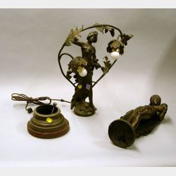 Classical Gilt Bronze Statue and a French Art Nouveau Patinated Cast Metal Figural   Table Lamp