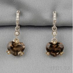 Smoky Topaz Heart Earpendants, Judith Ripka