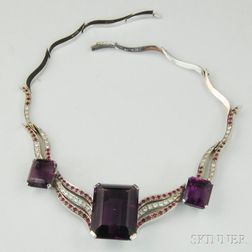 Armak 14kt White Gold, Amethyst, Diamond, and Ruby Necklace
