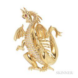18kt Gold and Diamond Brooch, Disney