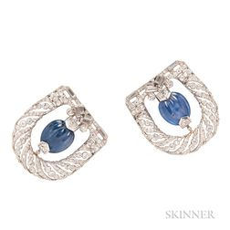 Pair of Sapphire and Diamond Clip Brooches
