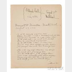 "Cummings, Edward Estlin (1894-1962) Unpublished Manuscript Poem Signed with an ""E,"" 30 August 1916."