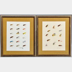 Two Prints of Fly-fishing Flies, Austin Hogan, 1969, depicting a total of thirty-one patterns, each print with signature Austin S. Hog