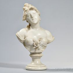 Antonio Piazza (Italian, Late 19th/Early 20th Century)       White Alabaster Sculpture of a Woman