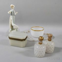 Five-piece Opaline Glass Dresser Set and a Lladro Ceramic Figure with a Swan