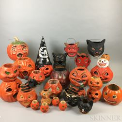 Group of Vintage Papier-mache Halloween Decorations