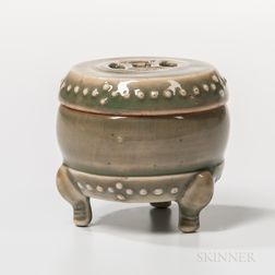 Small Celadon-glazed Drum-shape Box and Cover