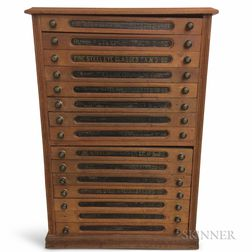 Stenciled Walnut Eleven-drawer Spool Cabinet