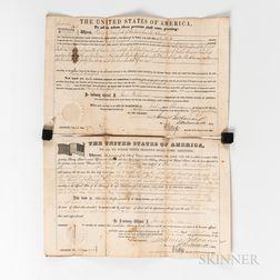 Two President James Buchanan Secretarial Signed Land Grants.