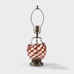 Archimede Seguso (Italian, 1909-1999) A Nastro Richiamato Lamp Base