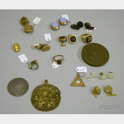 Group of Assorted Men's Estate Jewelry and Assorted Coins and Medals