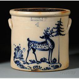 Bennington Stoneware Crock with Cobalt Blue Stag